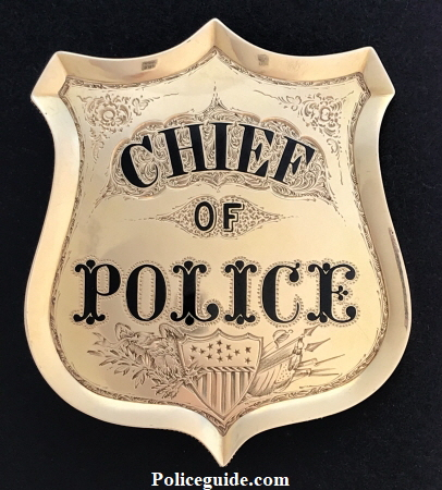 San Francisco Police Chief Martin J. Burke�s 14k gold presentation badge.  The San Francisco Bulletin newspaper in May of 1860 mentioned his badge and called it �Dazzling�.
