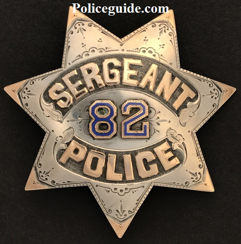 San Francisco Sergeant #82 made of sterling silver with 14k gold letters and inlay on each point.
