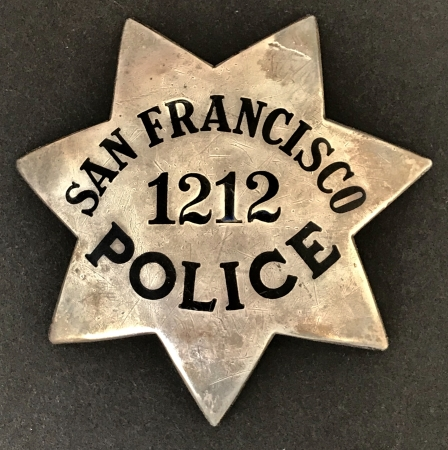 San Francisco Police badge #1212 issued to John Cahill,