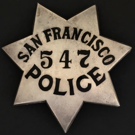 San Francisco Police badge #547 made of sterling by San Francisco's Samuel's Jewelers.