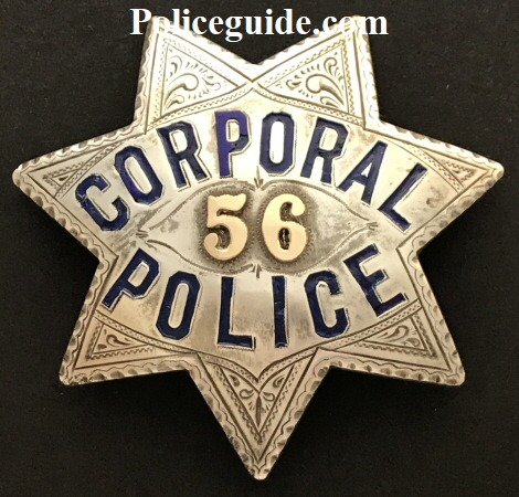 San Francisco Police Corporal badge #56, made by Irvine W. & Jachens 2129 Market St. S. F.  Stamped sterling and dated 1-16-09.