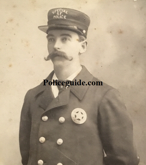 This nickel badge was made by J.C. Irvine San Francisco circa 1886 and is similar to the one this officer, a S.F.P.D. Special named George F. Nichols is wearing.  He was shot on August 23, 1900 while investigating a burglary in progress. Nichols died of his wounds on the morning of August 24, 1900.  PHOTO OF NICHOLS THAT APPEARS IN THE SAN FRANCISCO CALL  SATURDAY AUGUST 25,1900.