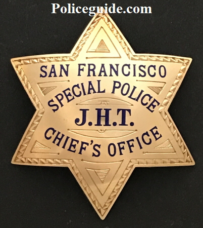 San Francisco Special Police J.H.T. Chief�s Office Presented to John H. Threlkeld by Angelo F. Rossi Mayor of San Francisco 12-10-35.  Made of 14k gold by Irvine & Jachens S.F.