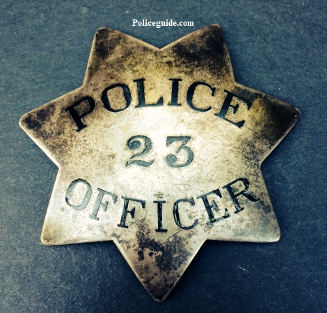 San Francisco Police badge #23 made of sterling silver and issued to Henry Hook who was appointed 4-25-1878.