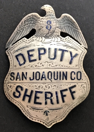 San Joaquin County Deputy Sheriff badge, sterling silver, hand engraved, made by Glick Jewelry Stockton