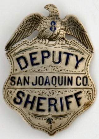 San Joaquin County Deputy Sheriff badge, sterling silver, hand engraved, made by Glick Jewelry Stockton.
