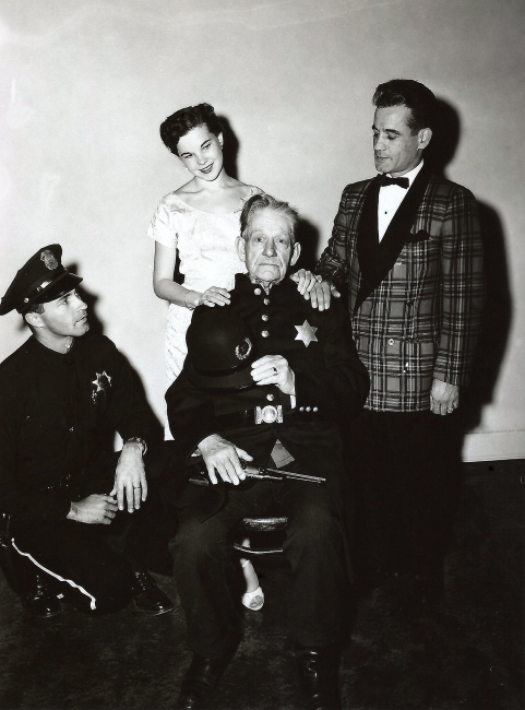 Left to Right - Officer Wittman, Actress Wanita Wilent, seated Sergeant Loyd Buffington  actor Murray Hamilton to his right.