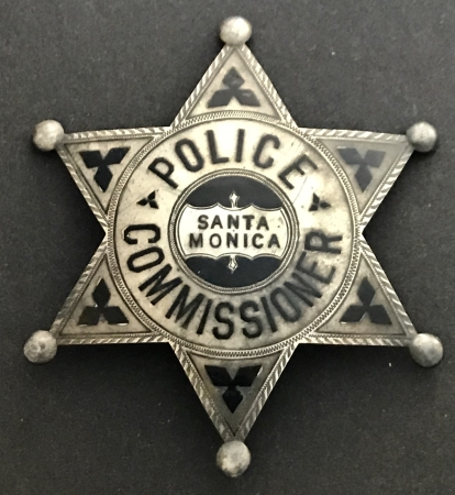 Santa Monica Police Commissioner badge.  Sterling silver.