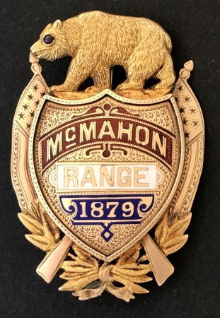 Gold perpetual shooting badge, enameled McMahon / Range / 1879.  Pictured in Whitherell's California's Best on page 27.