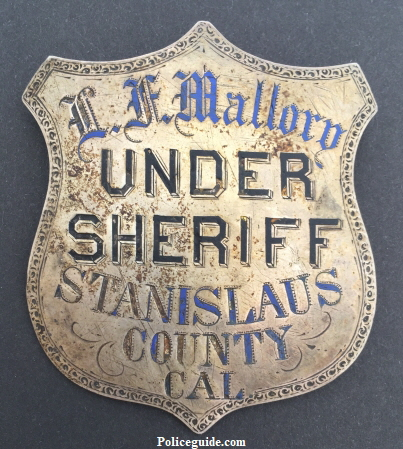 L. F. Mallory Undersheriff of Stanislaus County, CA circa 1881.