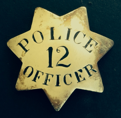 Early 1st issue Stockton badge made by local jeweler J. Glick, circa 1890.