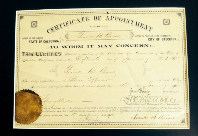 Certificate of Appointment, City of Stockton for Police Officer Frank B. Briare dated 18th of January 1900.