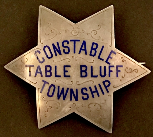 Constable Table Bluff Township (Loleta) is made of sterling silver with hard fired blue enamel and hand engraved.  Circa 1910.