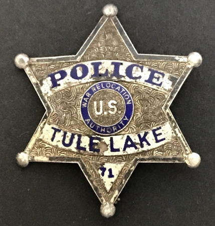 This sterling badge was used in the Japanese Internment Camp during WWII.  The camp was located south of the City of Tulelake in Modoc County.