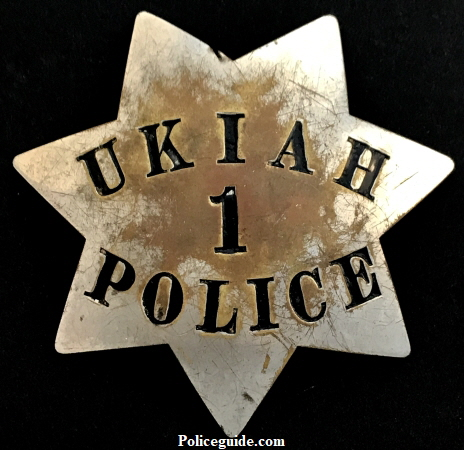 "3 1/2"" tall and made by Moise Klinkner S.F. this badge was worn by Clyde Brewer when he was the only policeman in Ukiah."