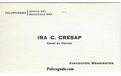 Cresap Chief of Police business card