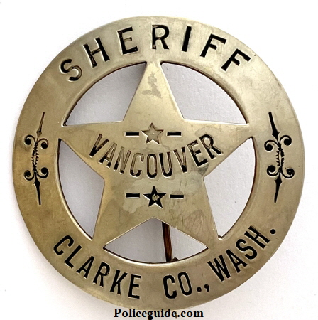 Pre 1925 Sheriff's badge for Clarke Co., WASH worn last by Ira Cresap.