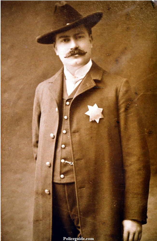 Charles J.McCoy, one of California's native sons, having been born in Marysville, October 16, 1874.  From April 2, 1900, until 1914, he served as police officer and Chief of the Police department of Marysville. In 1914 he was elected Sheriff of Yuba County, assuming his new duties as Sheriff in January 1915, a position he held for 32 years until 1946.